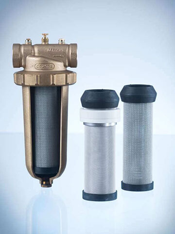 Heating water protection filter